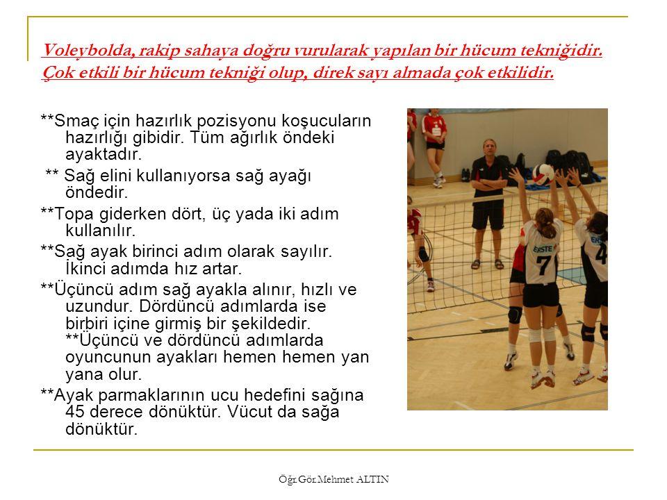 Öğr.Gör.Mehmet ALTIN Küçük yaşlardaki çocuklara öğretim aşamasında basamaklar  1- Voleybol topu olmaksızın adımlama yap ve Adımlama sırasında topun açısı ve topa geliş açısını kontrol et.