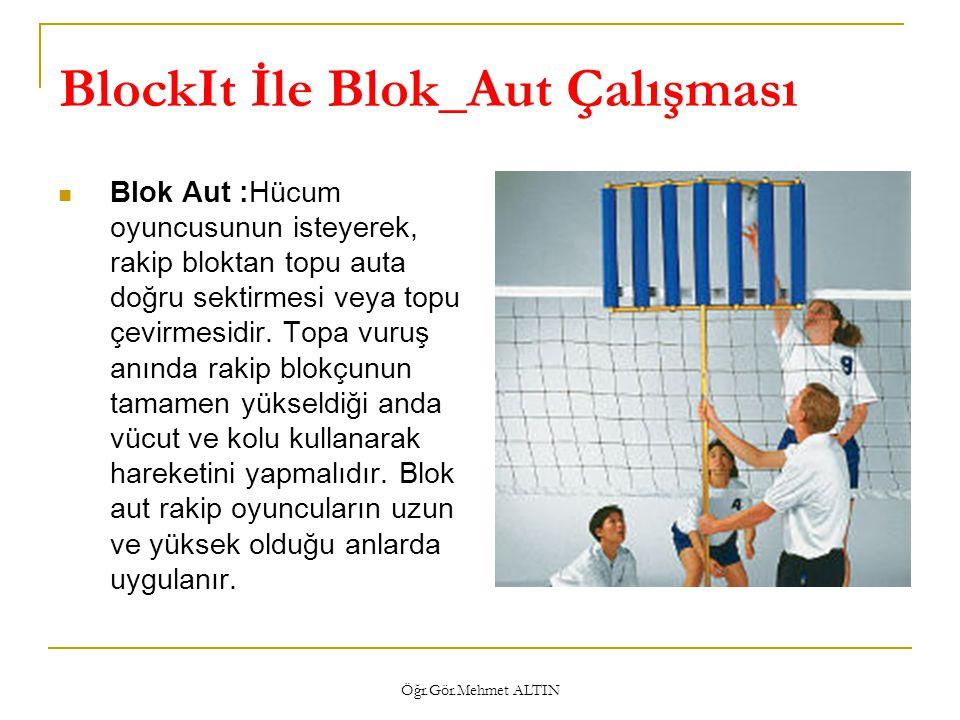 Öğr.Gör.Mehmet ALTIN BlockIt İle Blok_Aut Çalışması  Blok Aut :Hücum oyuncusunun isteyerek, rakip bloktan topu auta doğru sektirmesi veya topu çevirm
