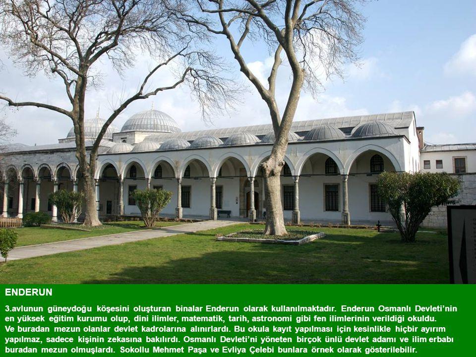 ENDERUN 3.avlunun güneydoğu köşesini oluşturan binalar Enderun olarak kullanılmaktadır. Enderun Osmanlı Devleti'nin en yüksek eğitim kurumu olup, dini
