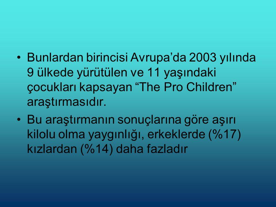 •Bunlardan birincisi Avrupa'da 2003 yılında 9 ülkede yürütülen ve 11 yaşındaki çocukları kapsayan The Pro Children araştırmasıdır.