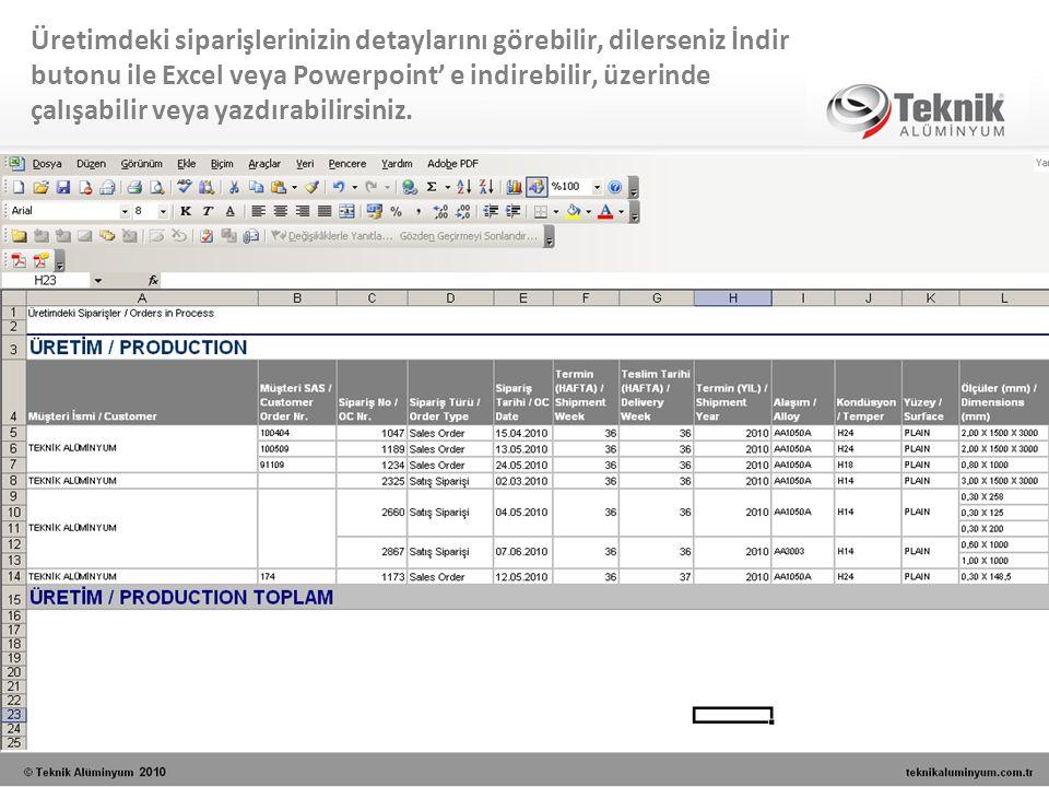 Üretimdeki siparişlerinizin detaylarını görebilir, dilerseniz İndir butonu ile Excel veya Powerpoint' e indirebilir, üzerinde çalışabilir veya yazdıra