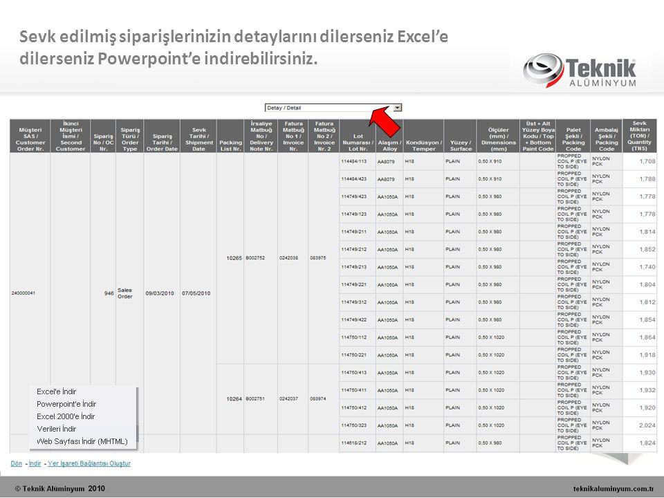 Sevk edilmiş siparişlerinizin detaylarını dilerseniz Excel'e dilerseniz Powerpoint'e indirebilirsiniz.