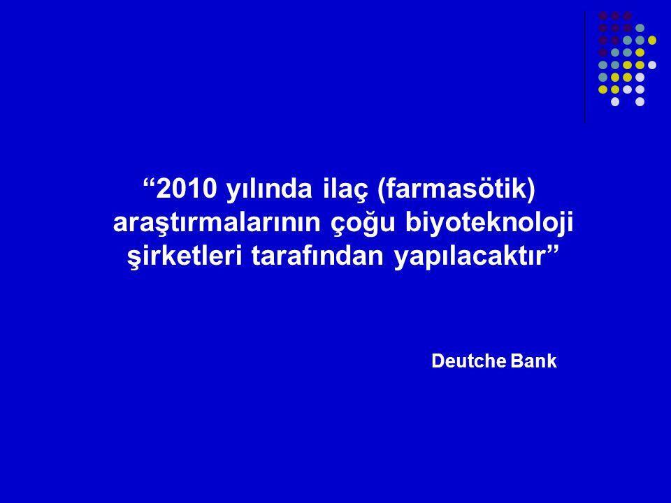 2010 yılında ilaç (farmasötik) araştırmalarının çoğu biyoteknoloji şirketleri tarafından yapılacaktır Deutche Bank