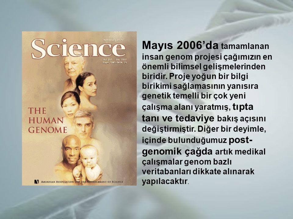 Mayıs 2006'da tamamlanan insan genom projesi çağımızın en önemli bilimsel gelişmelerinden biridir.