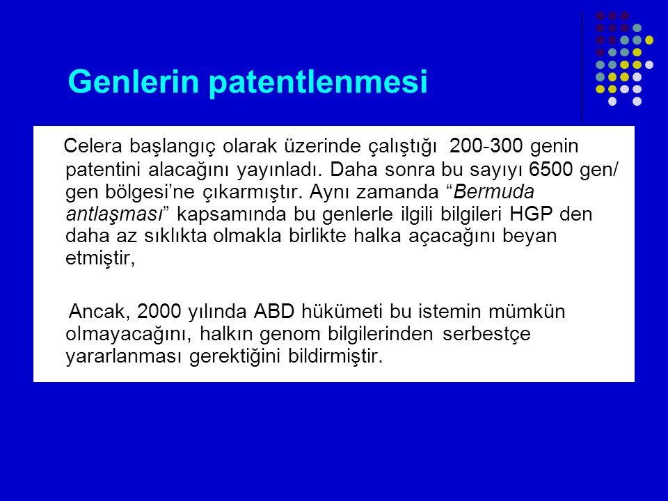 Genlerin patentlenmesi Celera başlangıç olarak üzerinde çalıştığı 200-300 genin patentini alacağını yayınladı.