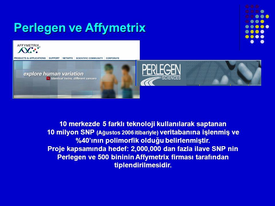 Perlegen ve Affymetrix 10 merkezde 5 farklı teknoloji kullanılarak saptanan 10 milyon SNP (Ağustos 2006 itibariyle) veritabanına işlenmiş ve %40'ının polimorfik olduğu belirlenmiştir.