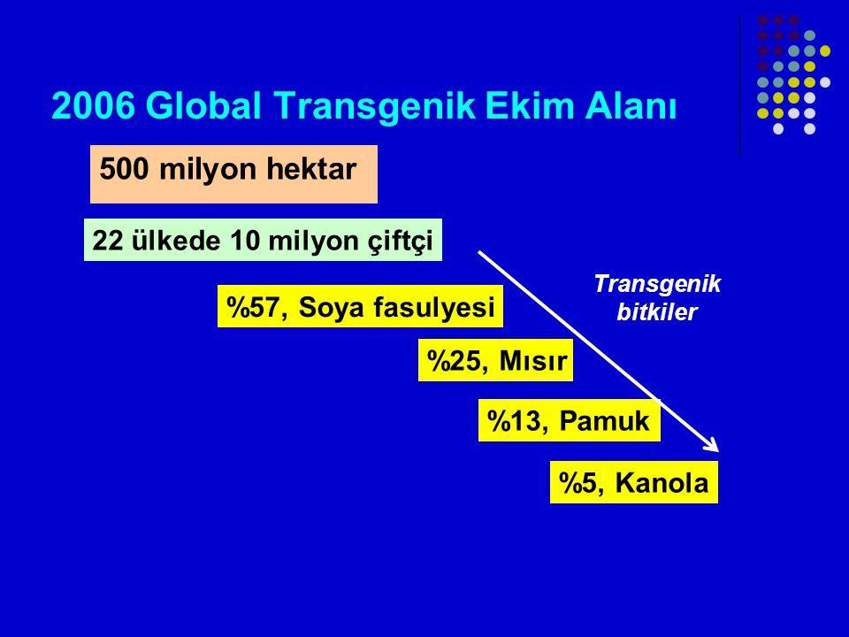 2006 Global Transgenik Ekim Alanı 500 milyon hektar 22 ülkede 10 milyon çiftçi %57, Soya fasulyesi %25, Mısır %13, Pamuk %5, Kanola Transgenik bitkiler