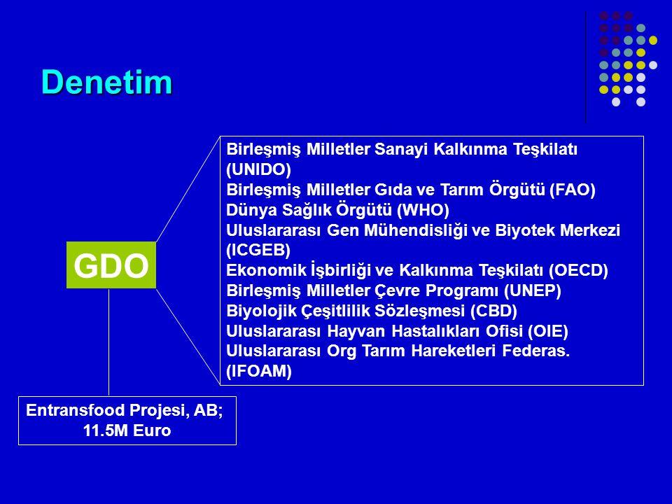 Denetim GDO Birleşmiş Milletler Sanayi Kalkınma Teşkilatı (UNIDO) Birleşmiş Milletler Gıda ve Tarım Örgütü (FAO) Dünya Sağlık Örgütü (WHO) Uluslararası Gen Mühendisliği ve Biyotek Merkezi (ICGEB) Ekonomik İşbirliği ve Kalkınma Teşkilatı (OECD) Birleşmiş Milletler Çevre Programı (UNEP) Biyolojik Çeşitlilik Sözleşmesi (CBD) Uluslararası Hayvan Hastalıkları Ofisi (OIE) Uluslararası Org Tarım Hareketleri Federas.