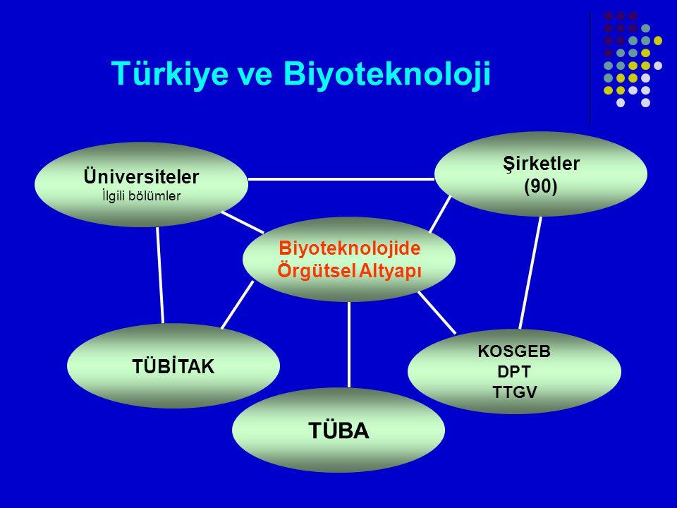 Türkiye ve Biyoteknoloji Üniversiteler İlgili bölümler Şirketler (90) Biyoteknolojide Örgütsel Altyapı KOSGEB DPT TTGV TÜBİTAK TÜBA