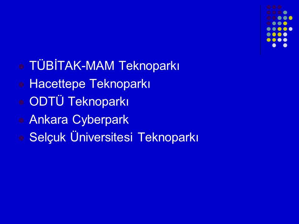  TÜBİTAK-MAM Teknoparkı  Hacettepe Teknoparkı  ODTÜ Teknoparkı  Ankara Cyberpark  Selçuk Üniversitesi Teknoparkı