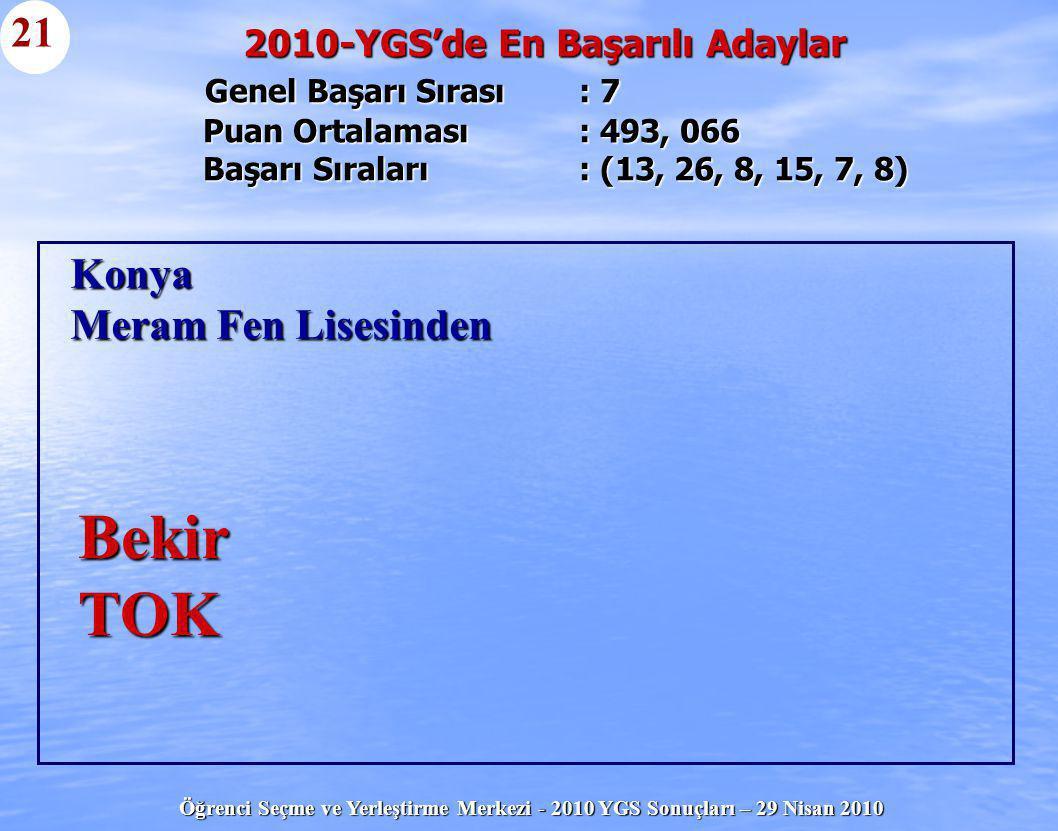 Öğrenci Seçme ve Yerleştirme Merkezi - 2010 YGS Sonuçları – 29 Nisan 2010 Genel Başarı Sırası : 7 Puan Ortalaması : 493, 066 Başarı Sıraları : (13, 26