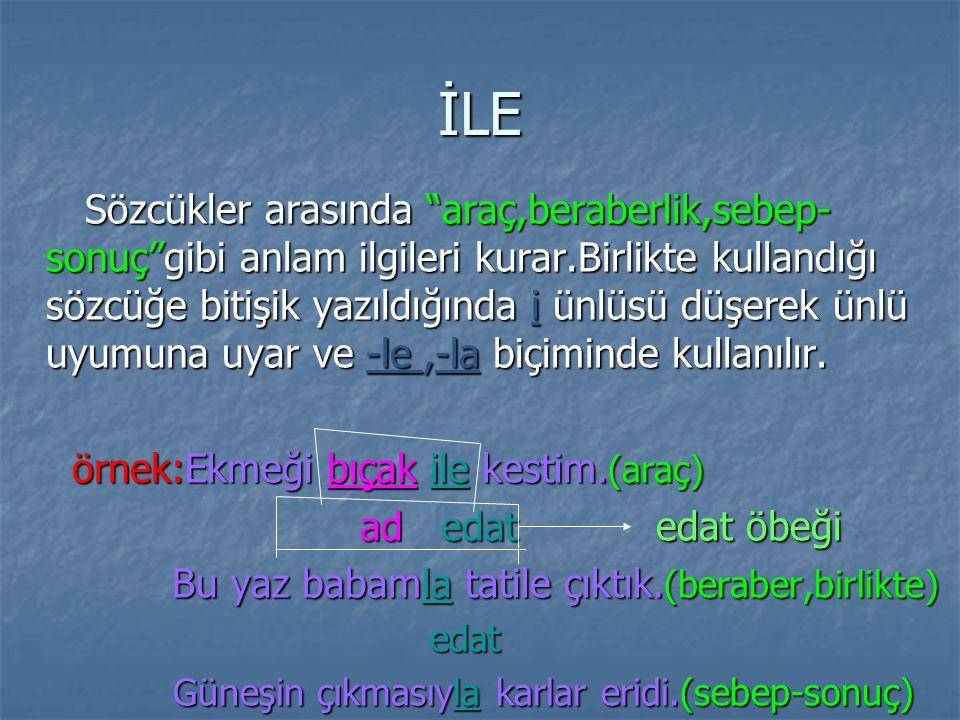 MI,Mİ Soru edatı kabul edilmektedir.Cümleye çeşitli anlamlar katar. Örnek: Türkçeden sınava girdin mi? (soru) Bahar geldi mi çiçekler açar. (koşul,zam