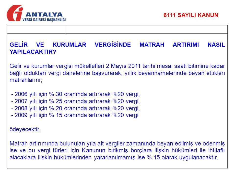 GELİR VE KURUMLAR VERGİSİNDE MATRAH ARTIRIMI NASIL YAPILACAKTIR? Gelir ve kurumlar vergisi mükellefleri 2 Mayıs 2011 tarihi mesai saati bitimine kadar