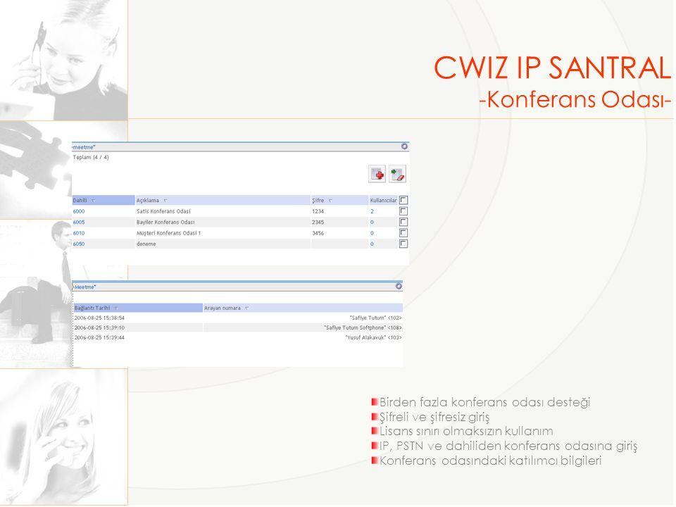 CWIZ IP SANTRAL -Konferans Odası- Birden fazla konferans odası desteği Şifreli ve şifresiz giriş Lisans sınırı olmaksızın kullanım IP, PSTN ve dahilid