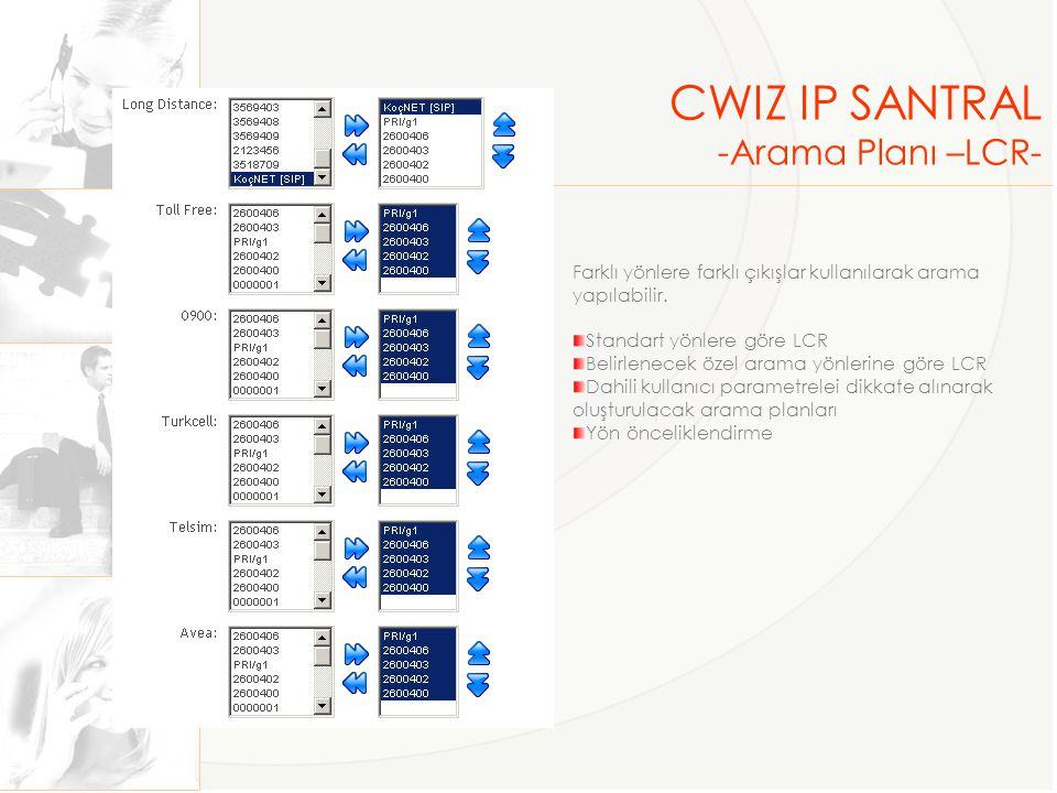 CWIZ IP SANTRAL -Arama Planı –LCR- Farklı yönlere farklı çıkışlar kullanılarak arama yapılabilir. Standart yönlere göre LCR Belirlenecek özel arama yö