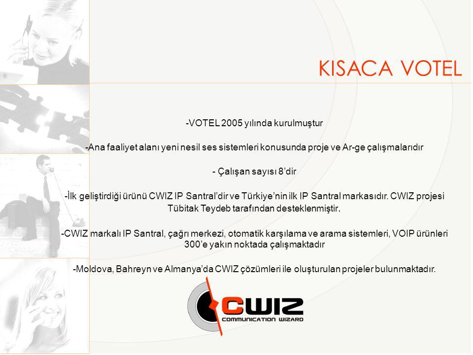 KISACA VOTEL -VOTEL 2005 yılında kurulmuştur -Ana faaliyet alanı yeni nesil ses sistemleri konusunda proje ve Ar-ge çalışmalarıdır - Çalışan sayısı 8'dir -İlk geliştirdiği ürünü CWIZ IP Santral'dir ve Türkiye'nin ilk IP Santral markasıdır.