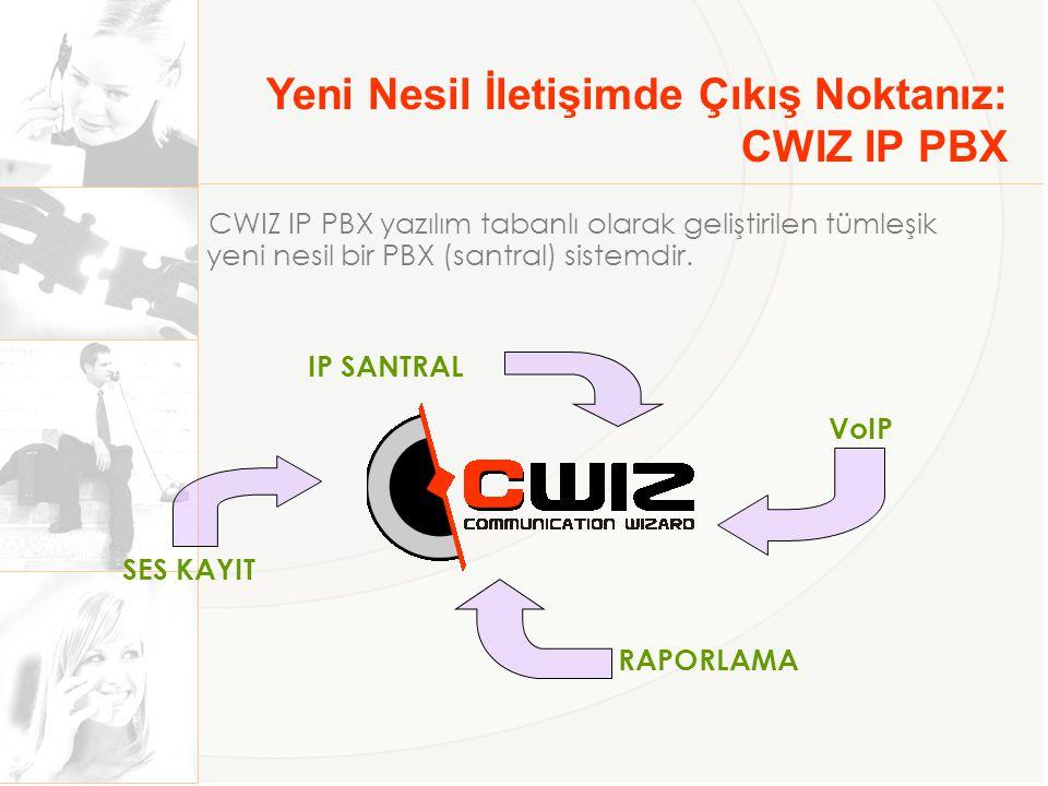 Yeni Nesil İletişimde Çıkış Noktanız: CWIZ IP PBX IP SANTRAL VoIP SES KAYIT RAPORLAMA CWIZ IP PBX yazılım tabanlı olarak geliştirilen tümleşik yeni nesil bir PBX (santral) sistemdir.