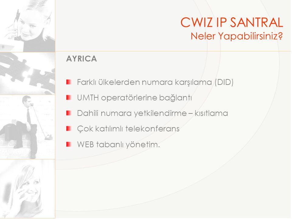 CWIZ IP SANTRAL Neler Yapabilirsiniz? AYRICA Farklı ülkelerden numara karşılama (DID) UMTH operatörlerine bağlantı Dahili numara yetkilendirme – kısıt