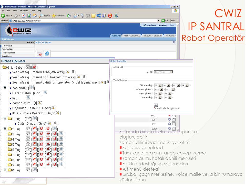 CWIZ IP SANTRAL Robot Operatör Sistemde birden fazla robot operatör oluşturulabilir Zaman dilimi bazlı menü yönetimi Ses dosyası upload Tüm kanallara aynı anda cevep verme Zaman aşımı, hatalı dahili menüleri Farklı dil desteği ve seçenekleri Alt menü desteği Gruba, çağrı merkezine, voice maile veya bir numaraya yönlendirme