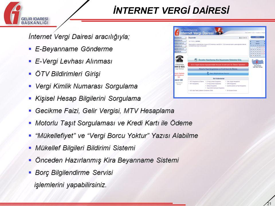 İnternet Vergi Dairesi aracılığıyla;  E-Beyanname Gönderme  E-Vergi Levhası Alınması  ÖTV Bildirimleri Girişi  Vergi Kimlik Numarası Sorgulama  K