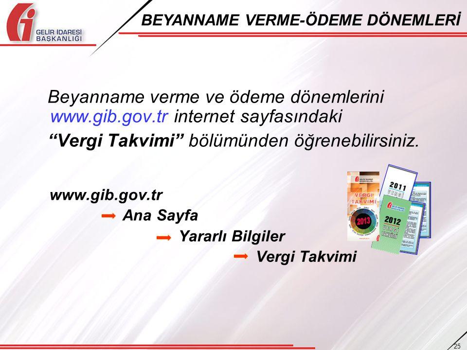 """Beyanname verme ve ödeme dönemlerini www.gib.gov.tr internet sayfasındaki """"Vergi Takvimi"""" bölümünden öğrenebilirsiniz. www.gib.gov.tr Ana Sayfa Yararl"""