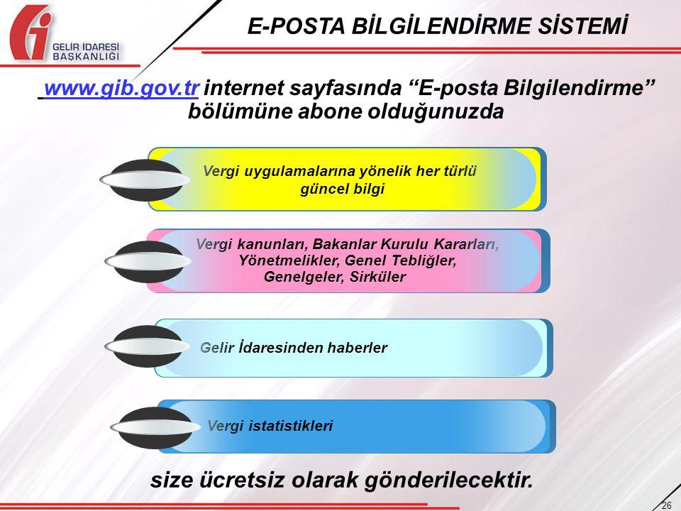 """E-POSTA BİLGİLENDİRME SİSTEMİ www.gib.gov.tr internet sayfasında """"E-posta Bilgilendirme"""" bölümüne abone olduğunuzda Vergi kanunları, Bakanlar Kurulu K"""