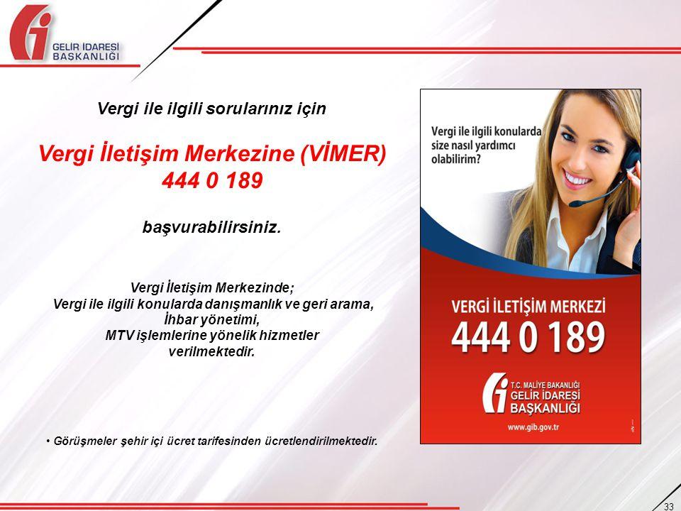 Vergi ile ilgili sorularınız için Vergi İletişim Merkezine (VİMER) 444 0 189 başvurabilirsiniz. Vergi İletişim Merkezinde; Vergi ile ilgili konularda
