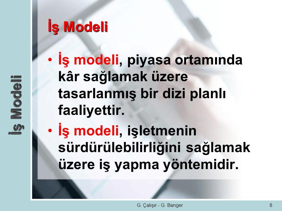 8 İş Modeli •İş modeli, piyasa ortamında kâr sağlamak üzere tasarlanmış bir dizi planlı faaliyettir. •İş modeli, işletmenin sürdürülebilirliğini sağla