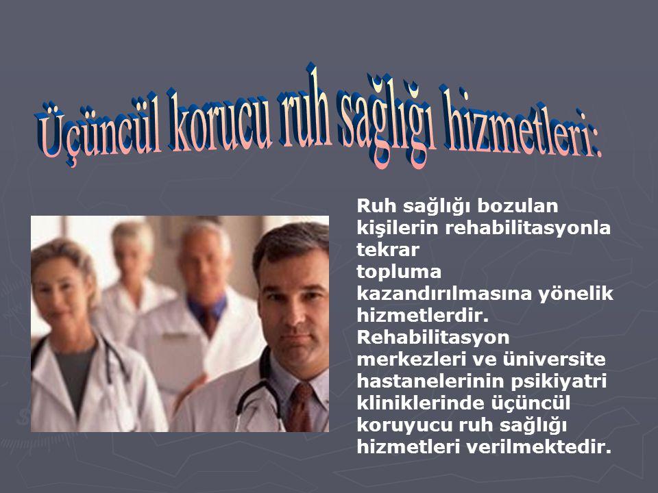 İlaçlı ve psikoterapi yapılarak ayakta tedavi uygulanan kuruluşlarda verilen hizmetlerdir. Bu hizmetler hastaneler, özel klinikler ve doktor muayeneha