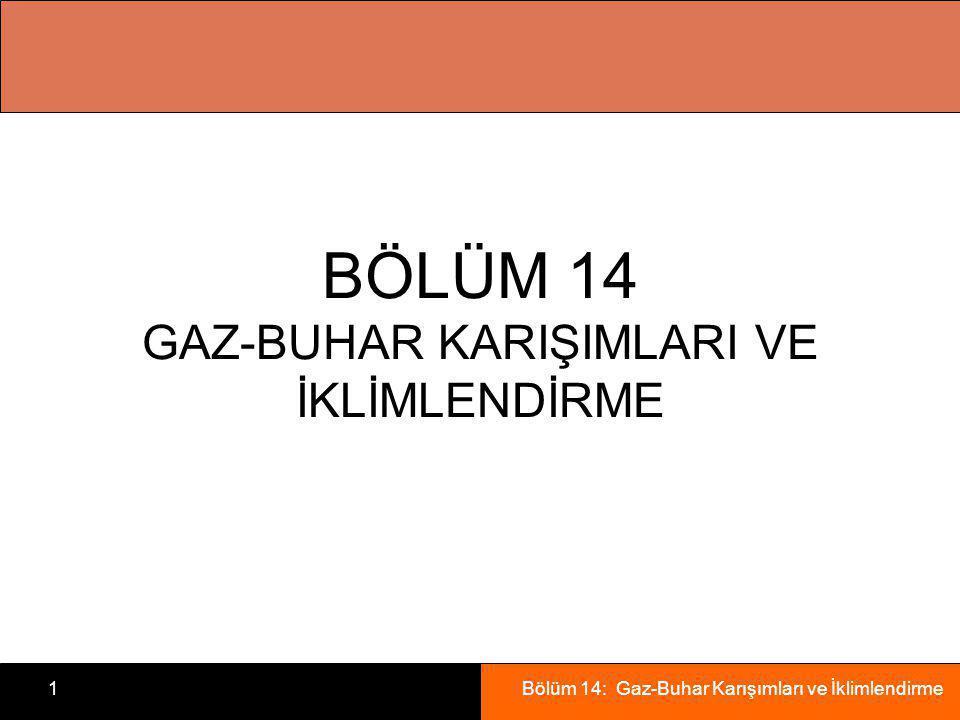 Bölüm 14: Gaz-Buhar Karışımları ve İklimlendirme1 BÖLÜM 14 GAZ-BUHAR KARIŞIMLARI VE İKLİMLENDİRME