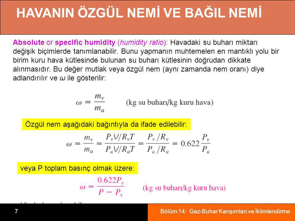 Bölüm 14: Gaz-Buhar Karışımları ve İklimlendirme7 HAVANIN ÖZGÜL NEMİ VE BAĞIL NEMİ Absolute or specific humidity (humidity ratio): Havadaki su buharı
