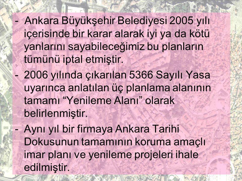 Ankara Merkez Eski Kent Dokusunun Planlanması, Sağlıklılaştırılması Ve Korunması Projesi Planlama Çalışmaları 1999 yılından bu yana Kültür Bakanlığı t