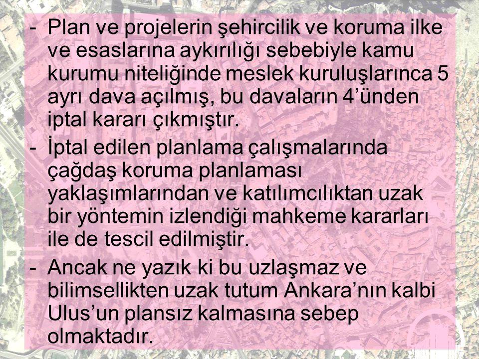 - Ankara Büyükşehir Belediyesi 2005 yılı içerisinde bir karar alarak iyi ya da kötü yanlarını sayabileceğimiz bu planların tümünü iptal etmiştir. -200