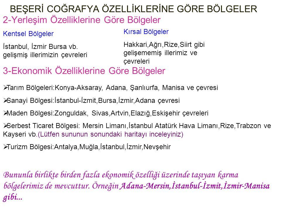 BEŞERİ COĞRAFYA ÖZELLİKLERİNE GÖRE BÖLGELER 2-Yerleşim Özelliklerine Göre Bölgeler Kentsel Bölgeler İstanbul, İzmir Bursa vb. gelişmiş illerimizin çev