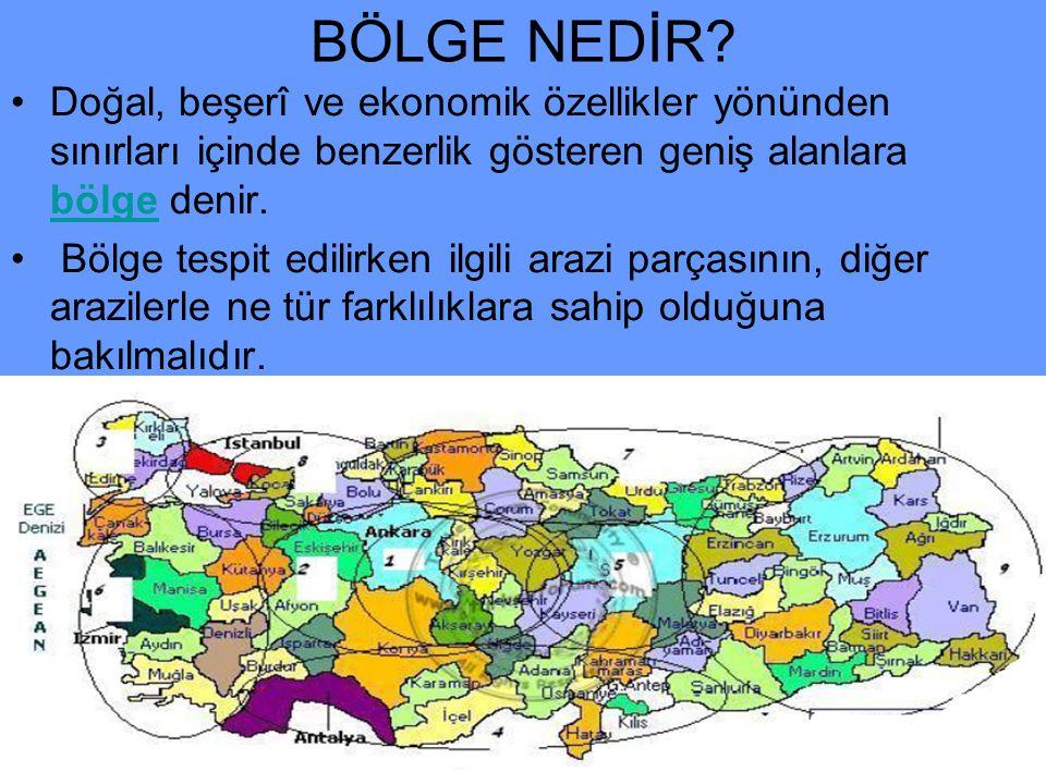 BÖLGE NEDİR? •D•Doğal, beşerî ve ekonomik özellikler yönünden sınırları içinde benzerlik gösteren geniş alanlara bölge denir. • Bölge tespit edilirken