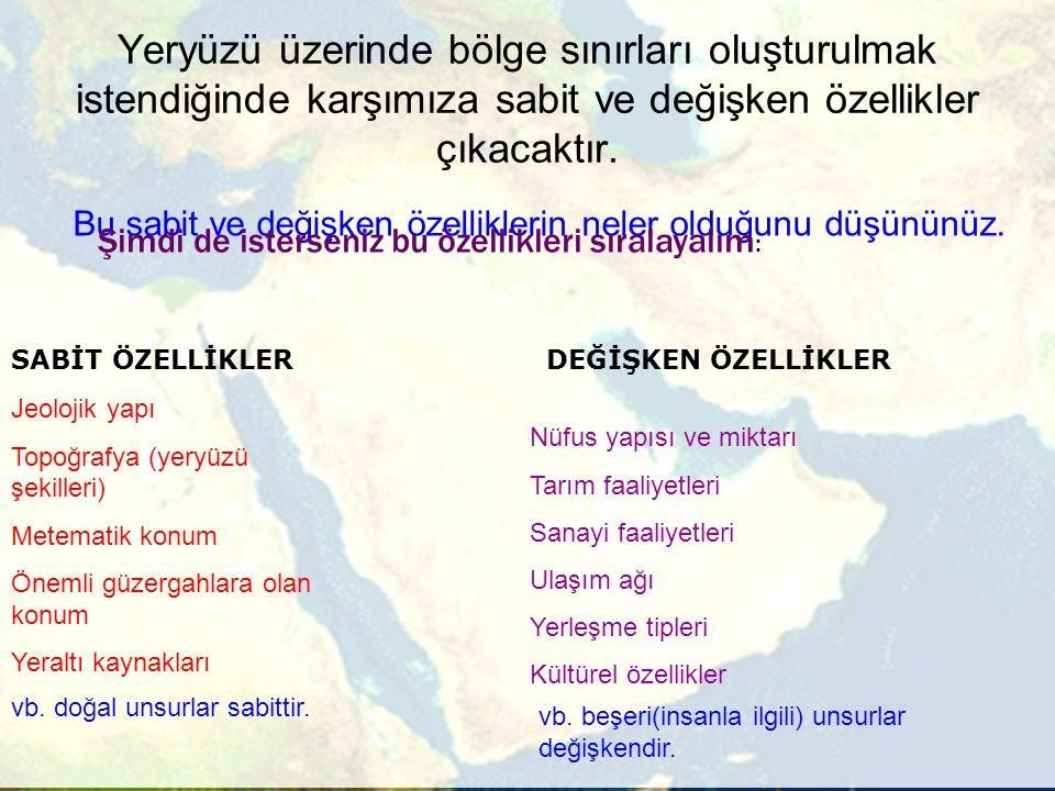 Ülkemizde Coğrafi Bölge Kavramı Tespit edilen yedi bölgeden ilk dördüne komşu olduğu denizin adı verilmiştir (Karadeniz, Marmara, Ege ve Akdeniz Bölgeleri).