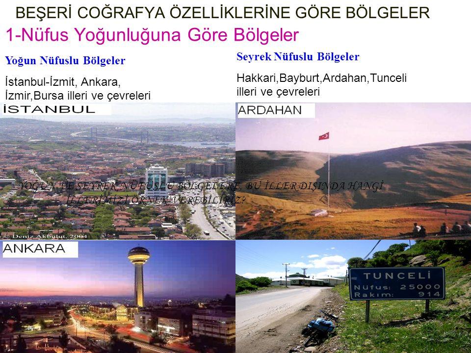 BEŞERİ COĞRAFYA ÖZELLİKLERİNE GÖRE BÖLGELER 1-Nüfus Yoğunluğuna Göre Bölgeler Yoğun Nüfuslu Bölgeler İstanbul-İzmit, Ankara, İzmir,Bursa illeri ve çev