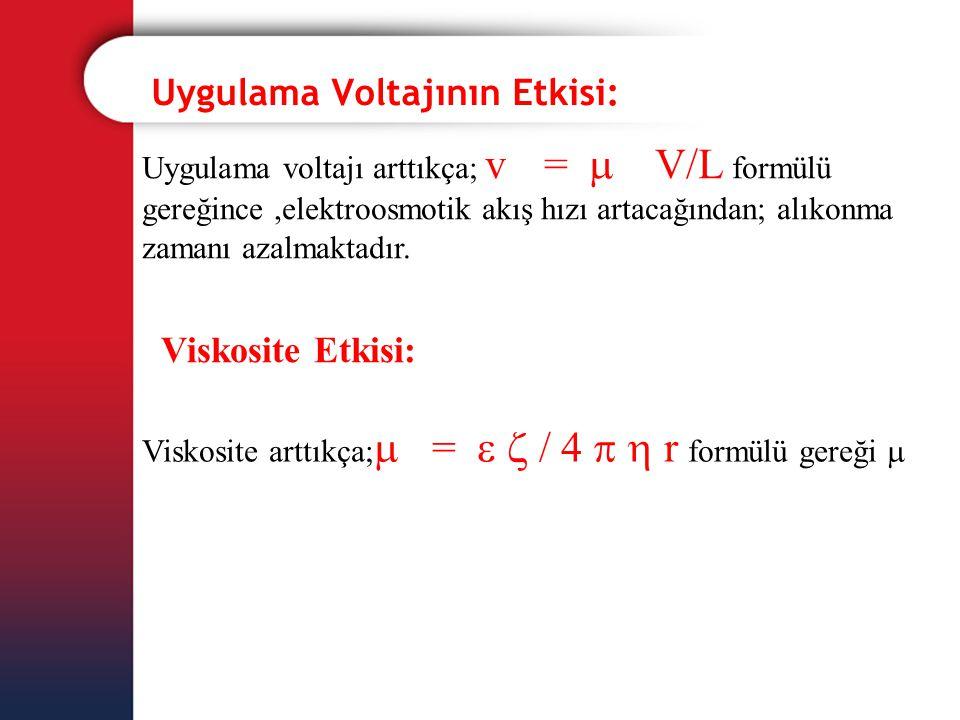 Uygulama Voltajının Etkisi: Uygulama voltajı arttıkça; v eo =  eo V/L formülü gereğince,elektroosmotik akış hızı artacağından; alıkonma zamanı azalma