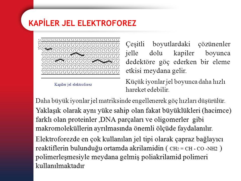 KAPİLER JEL ELEKTROFOREZ Kapiler jel elektroforez Çeşitli boyutlardaki çözünenler jelle dolu kapiler boyunca dedektöre göç ederken bir eleme etkisi me