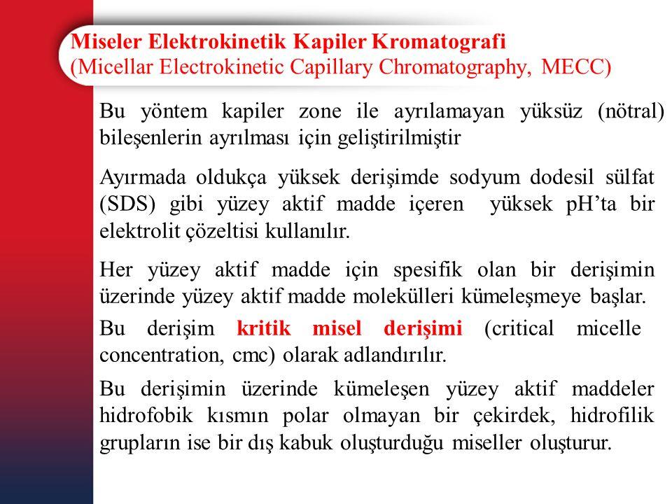 Miseler Elektrokinetik Kapiler Kromatografi (Micellar Electrokinetic Capillary Chromatography, MECC) Bu yöntem kapiler zone ile ayrılamayan yüksüz (nö