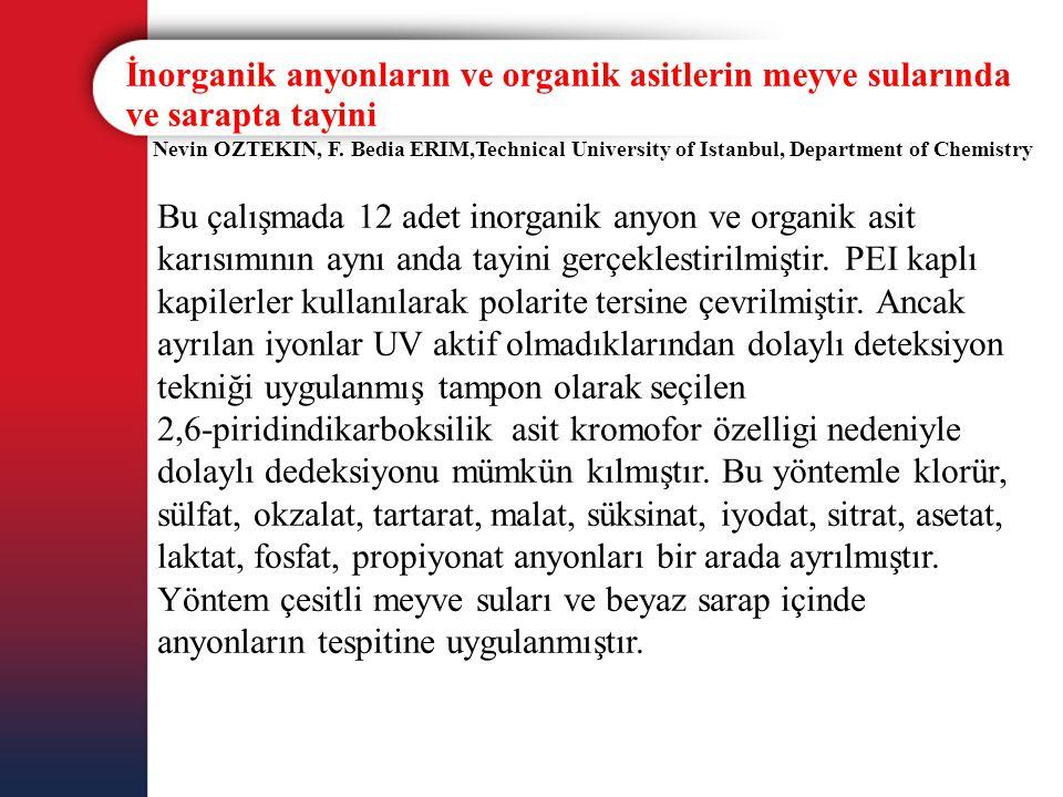 İnorganik anyonların ve organik asitlerin meyve sularında ve sarapta tayini Nevin OZTEKIN, F. Bedia ERIM,Technical University of Istanbul, Department
