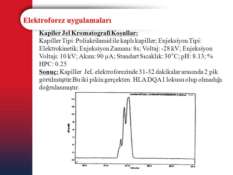 Elektroforez uygulamaları Kapiler Jel Kromatografi Koşullar: Kapiller Tipi: Poliakrilamid ile kaplı kapiller; Enjeksiyon Tipi: Elektrokinetik; Enjeksi