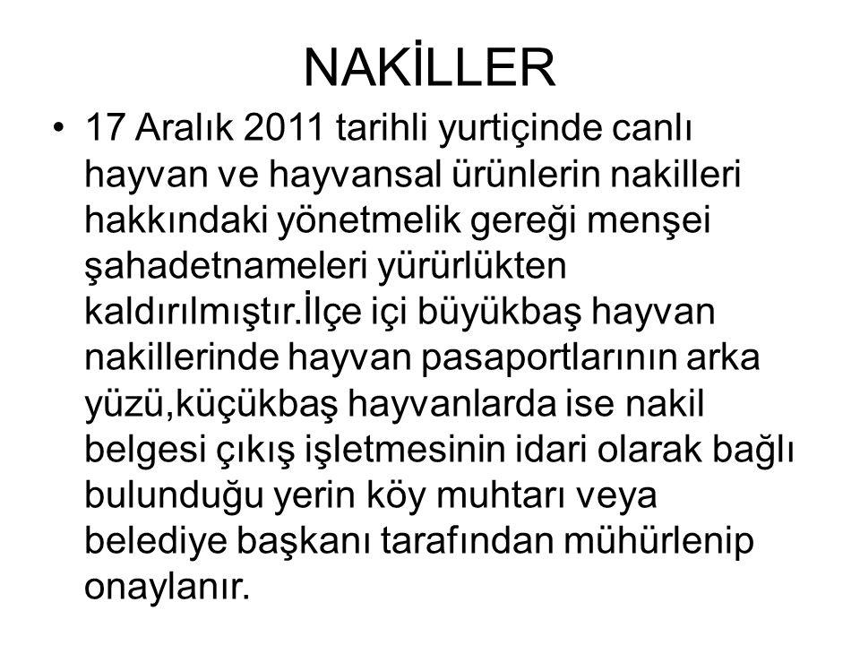 NAKİLLER •17 Aralık 2011 tarihli yurtiçinde canlı hayvan ve hayvansal ürünlerin nakilleri hakkındaki yönetmelik gereği menşei şahadetnameleri yürürlük