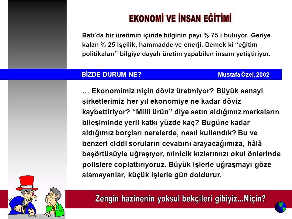 BİZDE DURUM NE.Mustafa Özel, 2002 … Ekonomimiz niçin döviz üretmiyor.