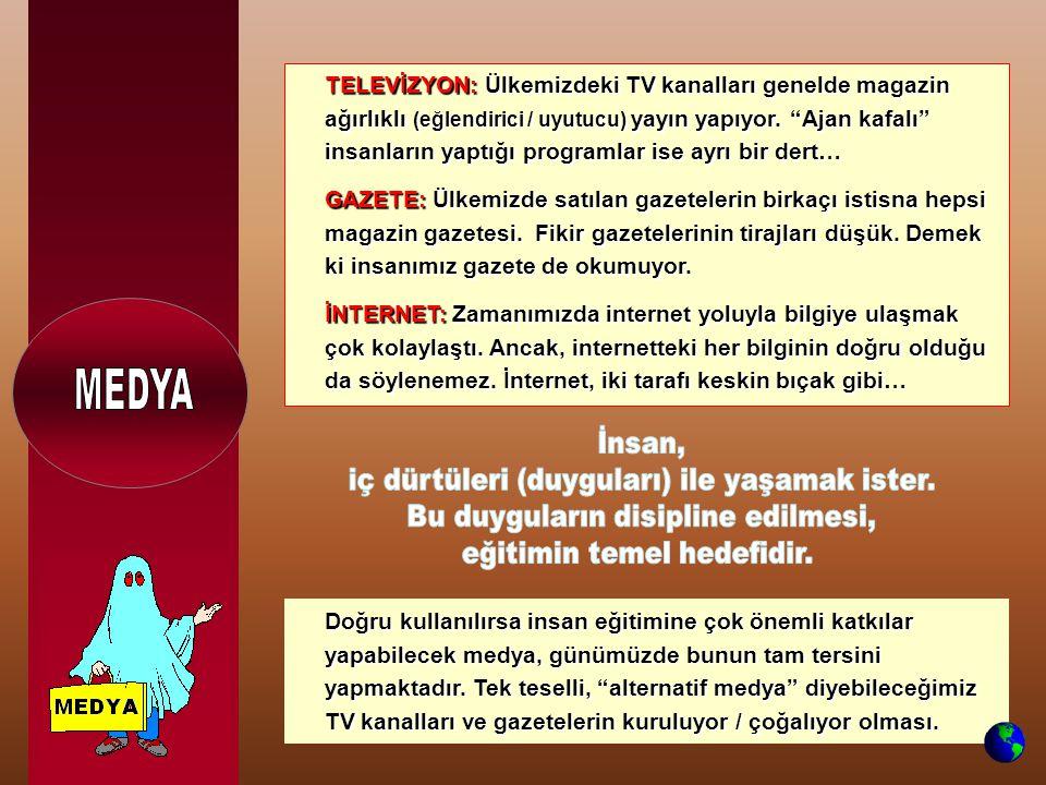 TELEVİZYON: Ülkemizdeki TV kanalları genelde magazin ağırlıklı (eğlendirici / uyutucu) yayın yapıyor.
