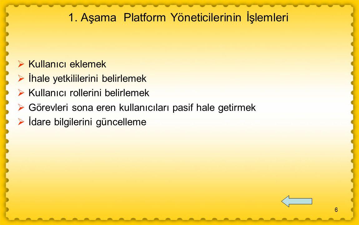 6 1. Aşama Platform Yöneticilerinin İşlemleri  Kullanıcı eklemek  İhale yetkililerini belirlemek  Kullanıcı rollerini belirlemek  Görevleri sona e