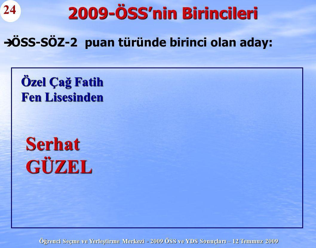 Öğrenci Seçme ve Yerleştirme Merkezi - 2009 ÖSS ve YDS Sonuçları – 12 Temmuz 2009   ÖSS-SÖZ-2 puan türünde birinci olan aday: 2009-ÖSS'nin Birincile