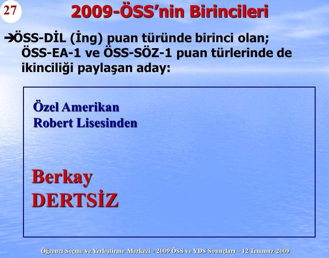 Öğrenci Seçme ve Yerleştirme Merkezi - 2009 ÖSS ve YDS Sonuçları – 12 Temmuz 2009   ÖSS-DİL (İng) puan türünde birinci olan; ÖSS-EA-1 ve ÖSS-SÖZ-1 p
