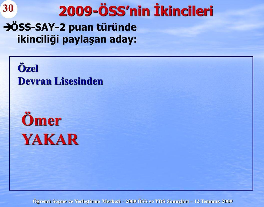 Öğrenci Seçme ve Yerleştirme Merkezi - 2009 ÖSS ve YDS Sonuçları – 12 Temmuz 2009   ÖSS-SAY-2 puan türünde ikinciliği paylaşan aday: 2009-ÖSS'nin İk
