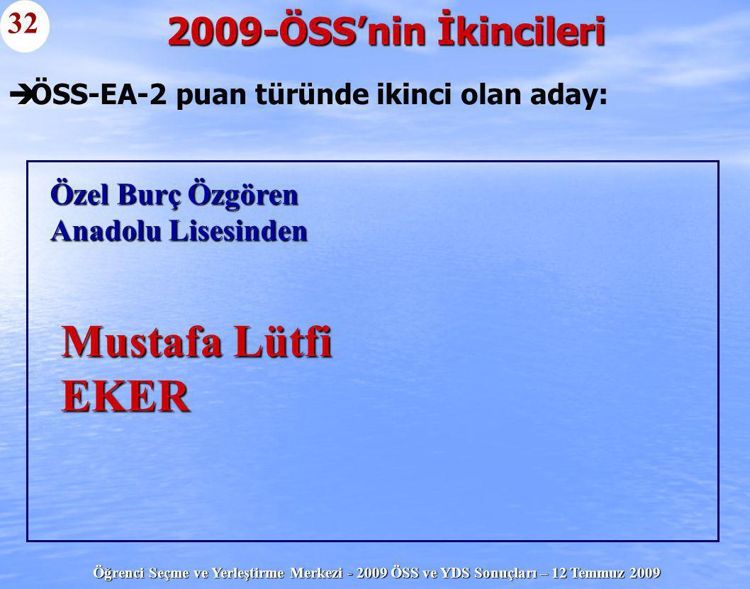 Öğrenci Seçme ve Yerleştirme Merkezi - 2009 ÖSS ve YDS Sonuçları – 12 Temmuz 2009   ÖSS-EA-2 puan türünde ikinci olan aday: 2009-ÖSS'nin İkincileri